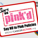 The Think Before You Pink logo on top of the EPA, FDA, NCI, and DOJ logos