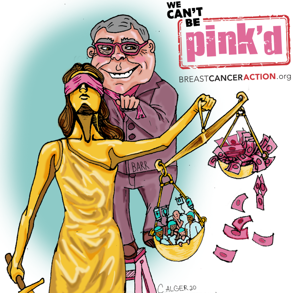 Political Cartoon featuring Attorney General William Barr and Lady Justice.